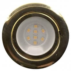 CAB8 downlight Brass finish with replaceable 8 LED bulb, 12v/24v