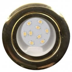 CAB9X downlight Brass with 3-Step Dimmable 9 LED bulb, 12v/24v