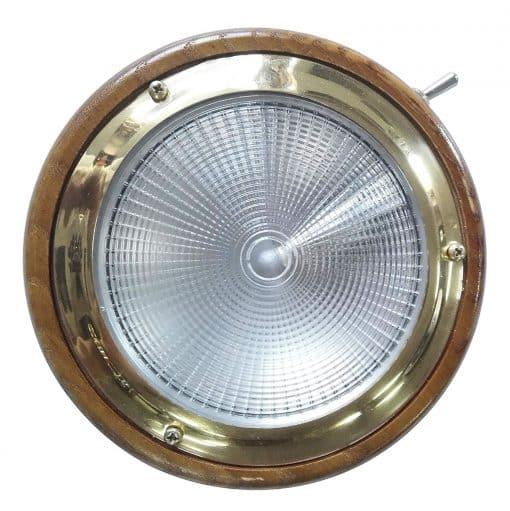 24v or 12v LED Dome Light on Teak base with toggle switch